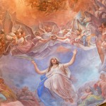 CREMONA, ITALY - MAY 24, 2016: The Apotheosis of St. Agata fresco on the cupola in church Chiesa di Santa Agata by Giovanni Bergamaschi from end of 19. cent.