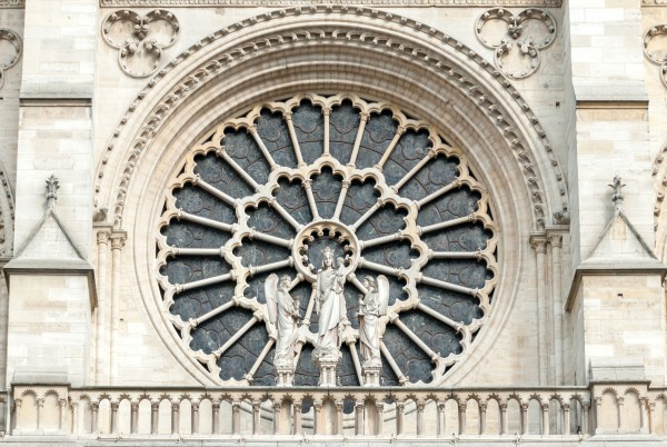 The exterior of the Western Rose window of Notre-Dame de Paris Cathedral
