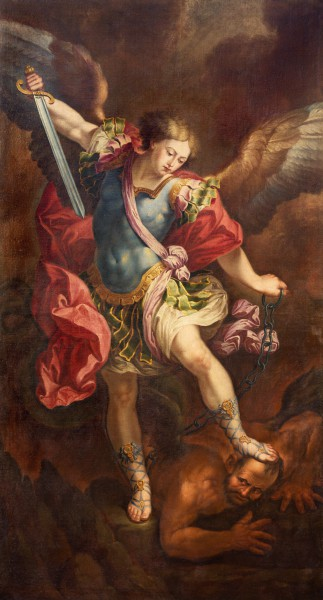 ZARAGOZA, SPAIN - MARCH 2, 2018: The painting of Michael Archangel in church Iglesia de la Exaltación de la Santa Cruz by Manuel Eraso (after Guido Reni in Rome) from 18. cent.