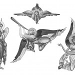 Archangels set in grayscale. Illustration - frescos in Byzantine style.