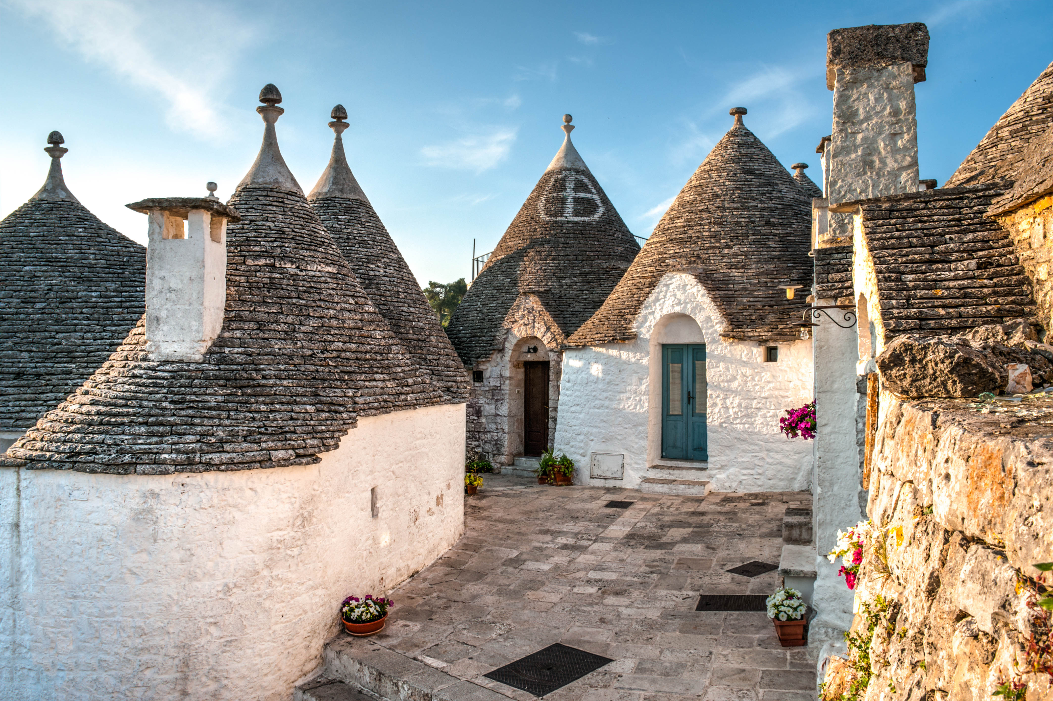 View of Trulli houses in Alberobello old town, Italy